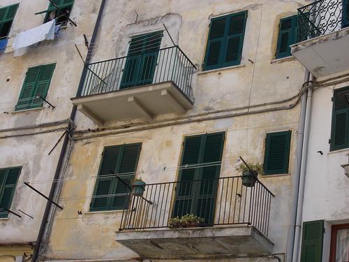 Riomaggiore Cinque Terre Ligurien Häuserfassade