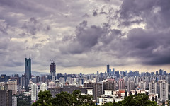 Shenzhen from Cuizhu Park (Sarmu) Tags: china city wallpaper urban building skyline architecture skyscraper highresolution downtown day cityscape view skyscrapers cloudy widescreen 1600 guangdong highdefinition resolution 1200 shenzhen cbd hd wallpapers   hdr guangdongprovince 1920 vantage 2010 vantagepoint ws 1080 1050 720p 1080p urbanity  1680 720 2560 shunhingsquare    sarmu  cuizhushan cuizhumountain cuizhupark  kingkeyfinancetower  kingkeyfinancecenterplaza