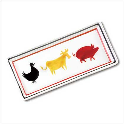 37758 Cow, Chicken and Pig Ceramic Tray $9.95