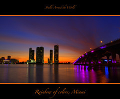"Rainbow of colors, Miami (Joalhi ""Back in Miami"") Tags: orange colors skyline night lights rainbow twilight miami coth5"