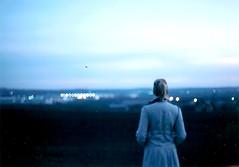 modr (.nevara) Tags: blue light portrait sky woman film girl analog evening back bokeh 400 kodacolor anonym prakticasupertl praktice