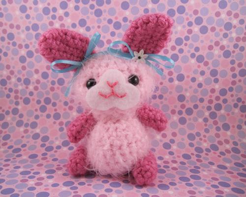 Amigurumi Pink Fuzzy Bunny with Blue Bows