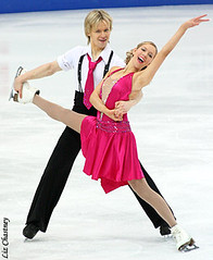 Chrissy and Mark having fun performing at the 2009 European Championships. (Photo by Liz Chastney)
