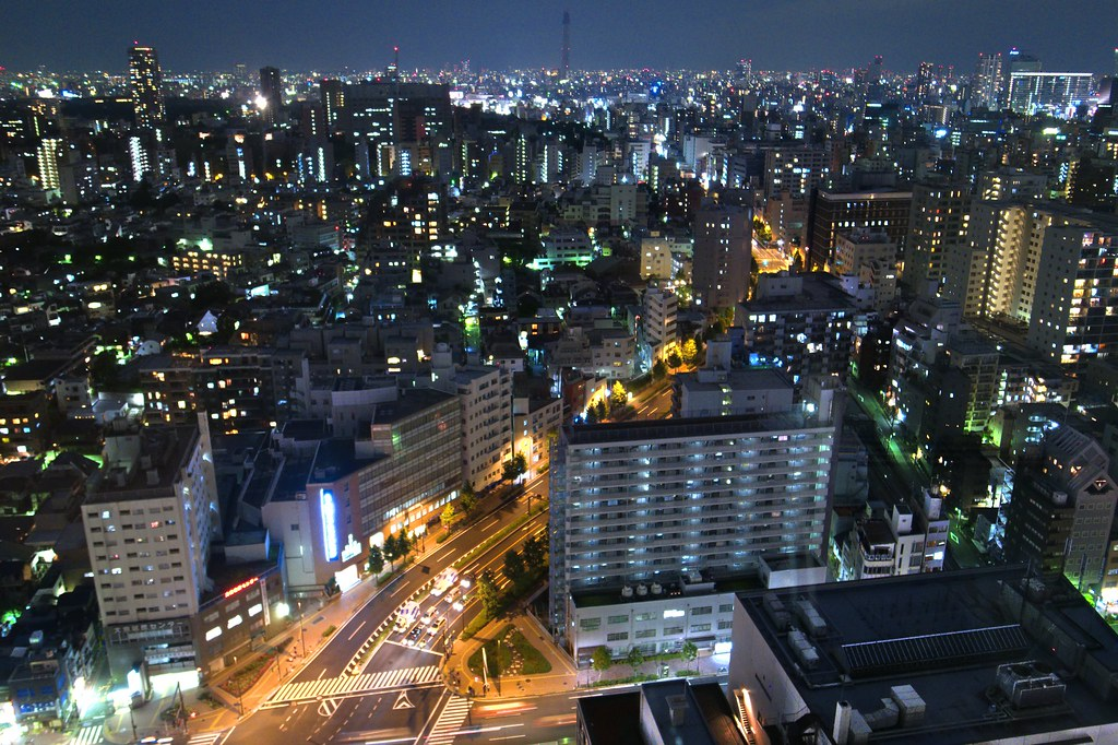 Tokyo Sky Tree night shot from Bunkyo Civic Center