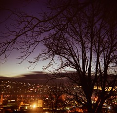 peace in the valley (mugley) Tags: city longexposure trees winter sky urban orange colour 120 6x6 film skyline night clouds buildings mediumformat lights twilight cityscape fuji purple dusk spires bare branches australia scan negative valley squareformat tasmania epson twigs f11 steeples reala launceston urbanlandscape c41 reala100 v700 bencini 4mins fujicolorsuperiareala100 bencinikoroll120 windmillhillreserve welmanst