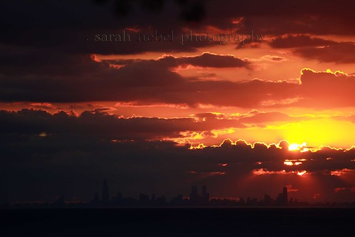 . sunset overlooking chicago .