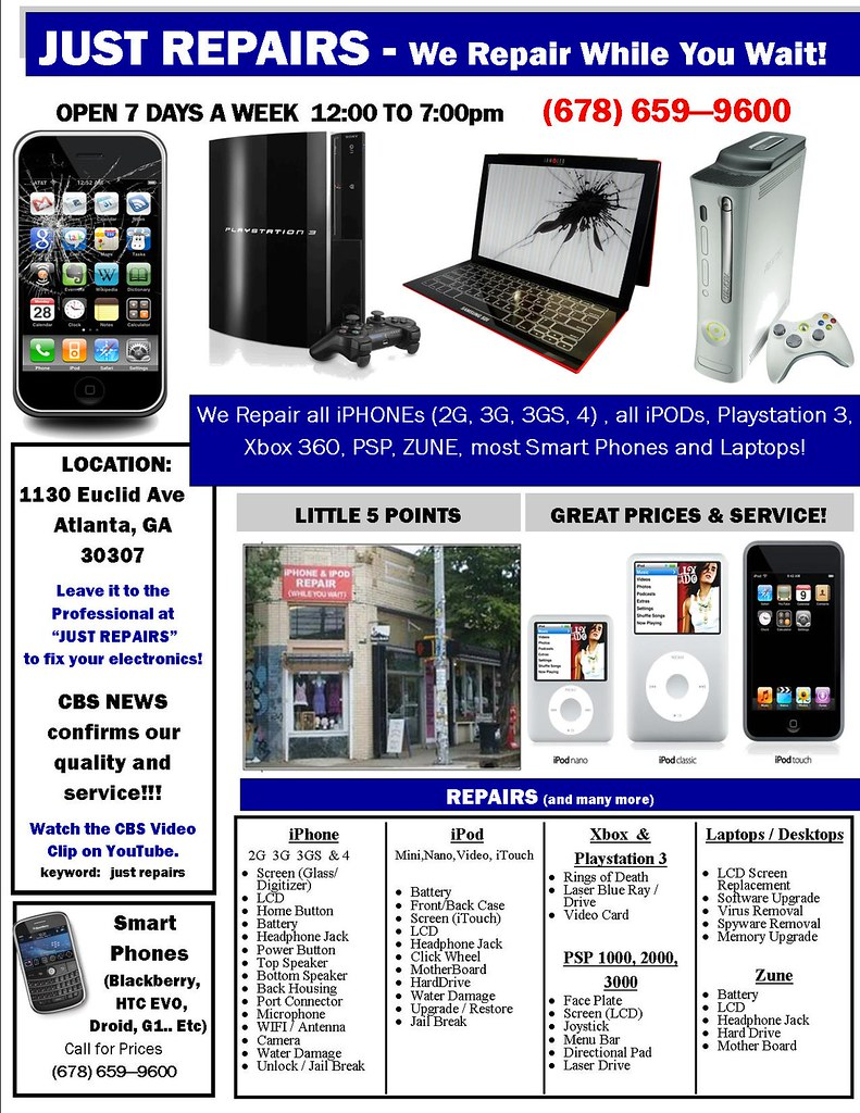 Just repairs we repair iphones and ipods while you wait in little 5 points atlanta ga  678 659 9600