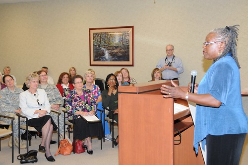 FNS Deputy Administrator for Special Nutrition Programs Audrey Rowe talks about the importance of the Women, Infants, and Children Program during a ceremony at in Clarksville, Tenn.