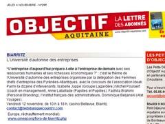 La lettre objectif Aquitaine 04 novembre 2010