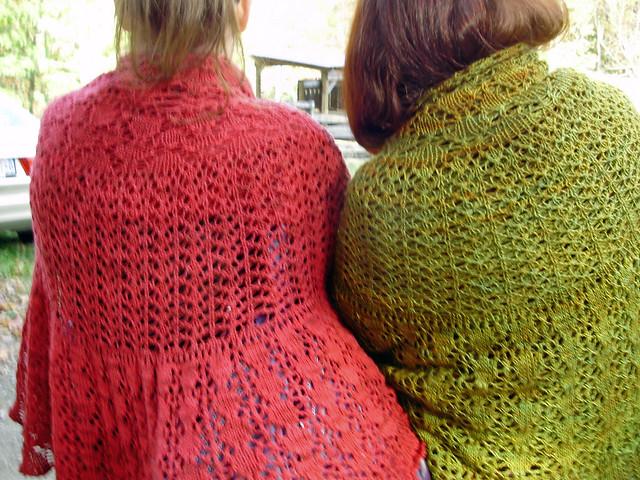 Dueling Shetland Pi shawls