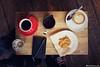 Dose (Rick Nunn) Tags: trip red london feet moleskine cup coffee topdown anzac tabel