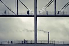 Fleeting time (96dpi) Tags: bridge chimney people berlin clouds dark silhouettes wolken overcast dreary menschen brücke schornstein compositing regierungsviertel passanten schemen silhouetten gettyimagesgermanyq1