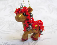 Red and Gold Unicorn Pendant (DragonsAndBeasties) Tags: red sculpture horse cute rose statue silver gold rainbow magic tail small chibi charm polymerclay fimo pony fantasy gift tiny kawaii sculpey etsy custom figurine unicorn mane horsie phonecharm premo zipperpull ittybitty