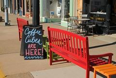 Coffee Cubes, Princeton Illinois (Cragin Spring) Tags: illinois il midwest unitedstates usa unitedstatesofamerica sidewalk bench sign coffee morning princeton princetonil princetonillinois coffeecubes