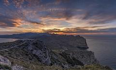 *Nightfall in Mallorca* (albert.wirtz) Tags: albertwirtz majorca mallorca europa europe mittelmeer mediterraneansea water panoramic panorama lightroom serradetramuntana tramuntana talaiadalbercutx viewpoint aussichtspunkt sunset sonnenuntergang nachsonnenuntergang twilight balearen baleares unesco worldheritage mirador miradorescolomer portdepollença ma2210 plaçavella 07460pollença illesbalears spanien spain insel isle wasser abendlicht abendstimmung eveningmood albercutx dusk abenddämmerung formentor formentorpeninsula nightfallinmallorca