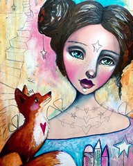 More progress on this one. Wasn't feeling the blue hair so her and the fox got similar hair colour. The facial expression of the fox melts my heart. :)  ❤️ #wip #willowing #willowingarts #whimsicalart #workinprogress #mixedmedia #mixedmedia #artists