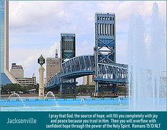 Main Street Bridge, Jacksonville, Florida, Romans 15:13 (Humbly Serving Christ) Tags: john t alsop jr main street st bridge us 1 drawbridge blue steel friendship fountain hdr skyline city buildings urban cbd skyscrapers architecture jacksonville florida jax fl usa united states america jesus christ christian christianity bible scripture