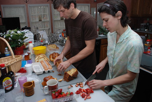 Reid and Kat prepping for their excellent French toast
