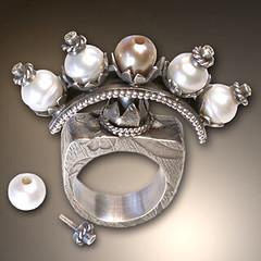 Candelabra Ring (Nancy L T Hamilton) Tags: art metal silver handmade jewelry pearls rings pmc nancylthamilton