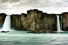 Waterfall of the Gods III (Styrmir Kri) Tags: longexposure summer water canon waterfall iceland rocks cliffs foss 2009 sland vatn goafoss waterfallofthegods 400d rebelxti northiceland hringfer aroundiceland styrmirkri