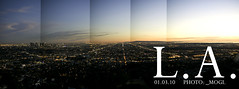 L.A. pano, 2010. (_mogi.) Tags: california city sunset sky landscape photography losangeles cityscape panoramic southerncalifornia griffithpark westcoast magichour downtownlosangeles nikon50mm griffithobservatorypark