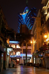 Old vs New...blue version (Rosanna Leung) Tags: street building hotel nightshot market casino macau oldmarket      grandlisboa casinohotel