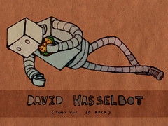 David Hasselbot (Iain Burke) Tags: winter television illustration photoshop sketch tv january robots doodle hamburger davidhasselhoff iain rough popculture filters burke pathetic 30rock 2010 quicksketch shockvalue textureoverlay winter2010 january2010 iainburke octopocalypse iainvandoucheberg vandoucheberg crappycellphonesnapshot davidhasselbot popmediareference