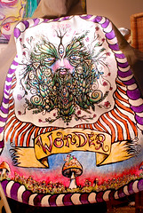 Wonder's cloak-back (lucidRose) Tags: woods paint acrylic fabric radical greenman fae fabricpaint mushroomwonder