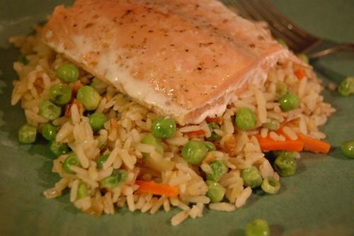 brown rice and salmon