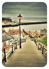 whitby steps (matthewheptinstall) Tags: sea england colour vintage coast town streetlamp yorkshire steps vivid retro whitby seaview eastcoast coastaltown filmeffect coaststeps