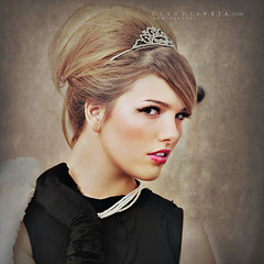 Prom Queen (claudiaveja) Tags: camera pink party portrait woman white black tiara girl beautiful beauty face up look smiling glitter lady fur necklace model pretty looking eyelashes dress princess time profile young formal makeup artificial jewelry fresh pearls blond formalwear attractive teenager elegant hairstyle lipgloss occasion hear promqueen