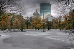 Public Garden (lpotatol) Tags: park winter snow boston canon cityscape massachusetts johnhancock bostoncommon hdr publicgarden swanpond