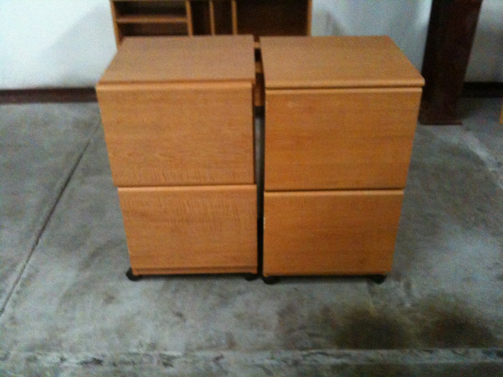 Two (2) Laminate Wood Filing Cabnets