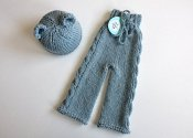 Love is... Bear Ears on your newborn - cabled longies & knit hat- newborn *$0.01 shipping*