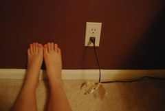 (Alyssa is me) Tags: feet carpet toes legs maroon tags plug electrical outlet baseboard