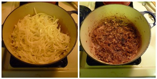Onions for soup, before and after.