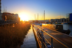 My very first sunrise! - Bristol Harbourside (Mathew Roberts) Tags: uk light england photoshop sunrise canon bristol eos harbour britain great floating 7d harbourside lightroom cs4 eos7d mathewroberts yesthatisnotamirageitisactuallyasunriseigotoutofbedearlythismorning