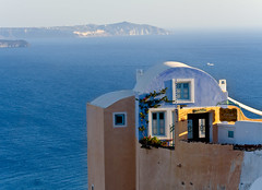 Aspaki (Michael Rugosi) Tags: ocean blue roof color colour beach beautiful greek chairs santorini greece