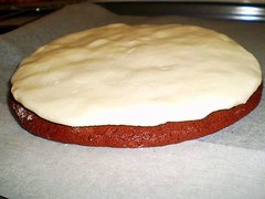 biscuit topped with peppermint cream filling