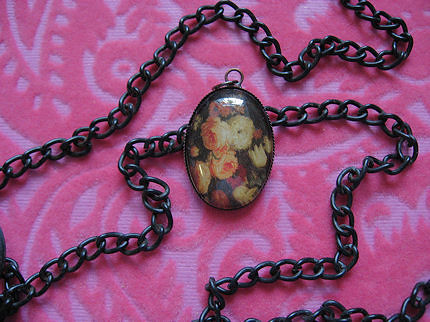 VINTAGE BOUQUET 18x25mm glass oval cabochon pendant