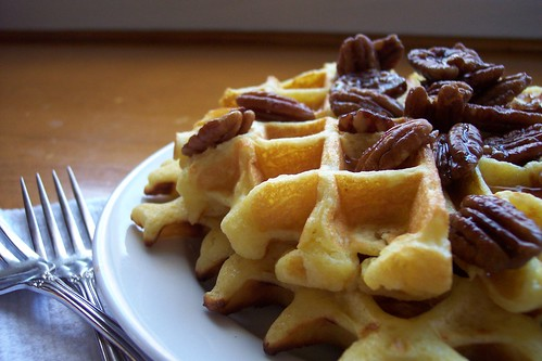 Belgian Waffles w/ Candied Pecans