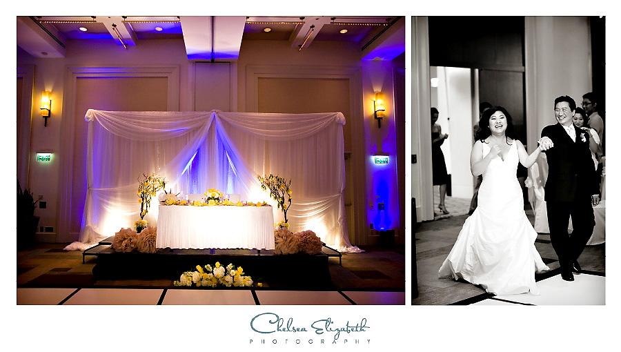 grand ballroom sweatheart table and grand entrance wedding reception