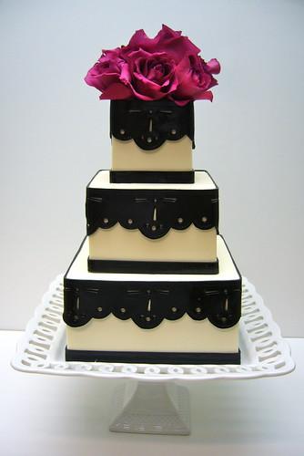 Black eyelet lace wedding cake