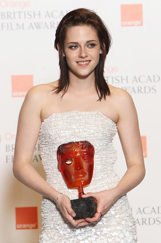 Kristen Stewart with her BAFTA Orange Rising Star Award