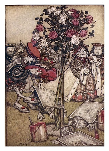 008-Queen's corquet-ground-Alice's adventures in Wonderland-1907- Arthur Rackham