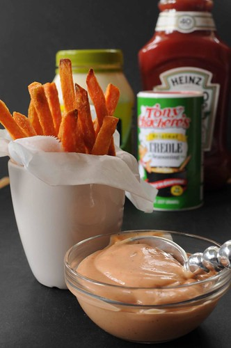 A Cajun Dip for Sweet Potato Fries -- sweet potato dip with ingredients in background