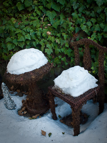 Chair and table in snow