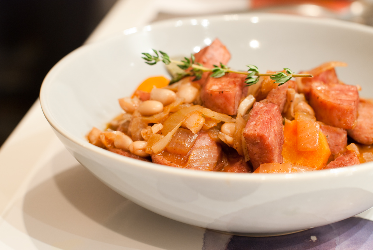 Duck Sausage and White Bean Cassoulet