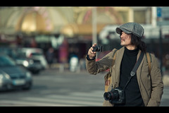 Gentleman Photographer (Fabrice Drevon) Tags: leica man france hat canon nikon photographer candid 85mm cap 1d nikkor f18 cinematic gentleman markiii d700