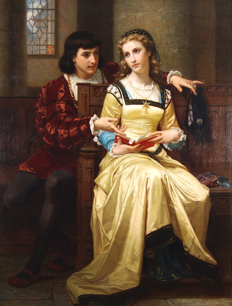 Hugues Merle (French, 1823-1881) Romeo & Juliet (1879) Oil on canvas. 67 X 51 in. Anthony's Fine Art, Salt Lake City, UT, USA.